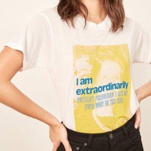 Reformation Equal Women White Yellow Tee T-Shirt